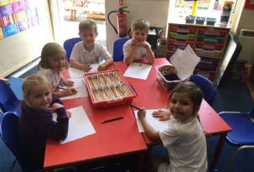 Reception's writing with Mr Booth